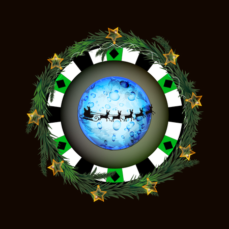 Poker chip with glowing lantern and santa claus on a sleigh design on dark background