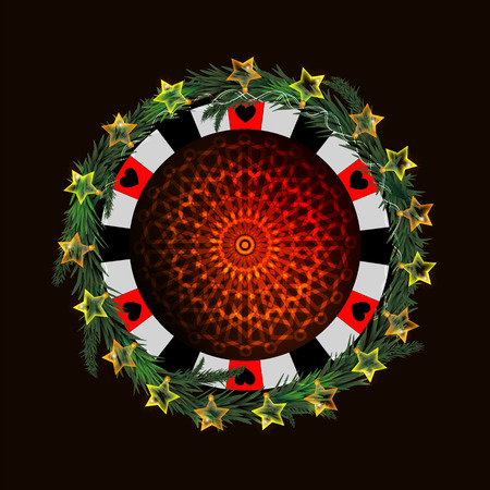 Poker chip with glowing lantern and red snowflake design on a dark background