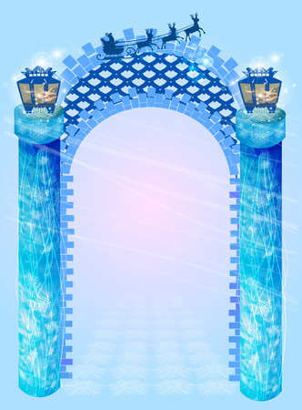 column arch. New Year's blue with lanterns on each side on a blue background and Santa Claus on deer