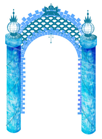 column arch. New year blue with a lantern on each side on a white background