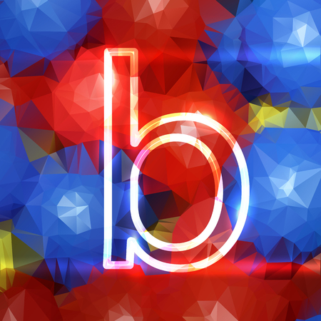the letter B is a small capital. on a triangular background in multi-colored globular triangles 스톡 콘텐츠