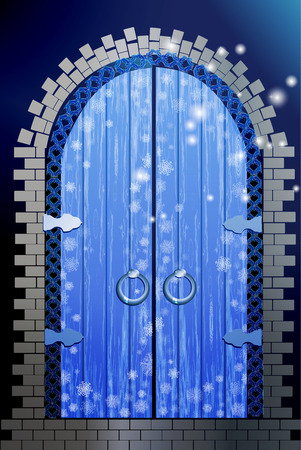column arch. New Years Eve blue with wooden doors and stonework of stones Stock Photo