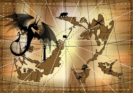 Dragon and map icon. Illustration