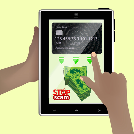 Stop scam. cheating and fraud. Hands holding a smart tablet. A bag of green money translate online.