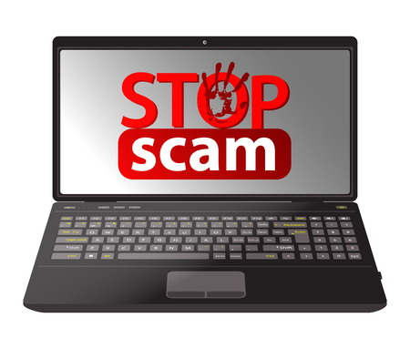 Stop scam. cheating and fraud. computer tablet with an inscription red.