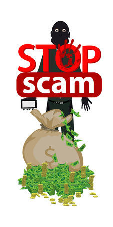 Stop scam. Cheating and fraud. A bag of money and a thief with a smart phone.