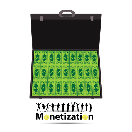 monetization concept. much money. work online. easy work on the Internet. referral program. a suitcase of money. case with cash