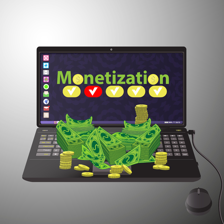 monetization concept. much money. work online. easy work on the Internet. referral program. black laptop on the table with a bundle of money Иллюстрация
