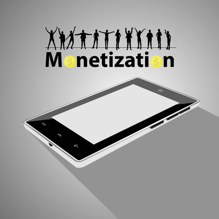 monetization concept. much money. work online. easy work on the Internet. referral program. smart phone and people silhouettes on the screen