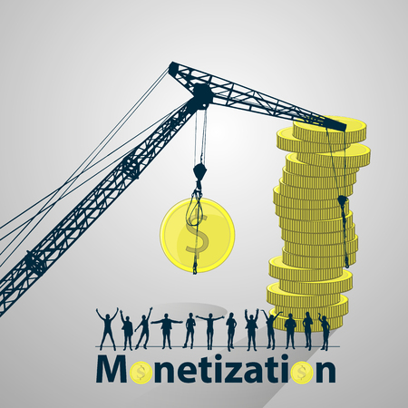 Monetization concept. much money. work online. easy work on the Internet. referral program. lifting crane and coins