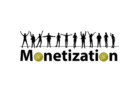 Monetization concept. referral program. online projects. peoples silhouettes and coins 向量圖像