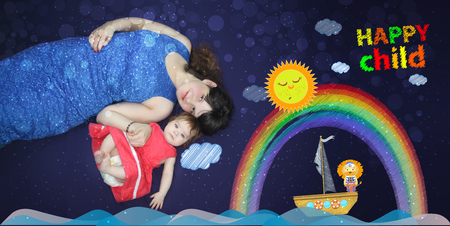 Mom and baby. A loving song before bedtime. childrens dreams. journey by ship. concept of sleep. girl in a carved dress on a purple background. the concept of childhood. Reklamní fotografie