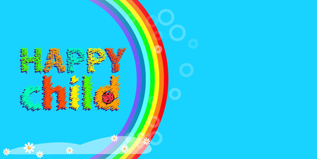 background blue vector illustration with rainbow and happy childhood.