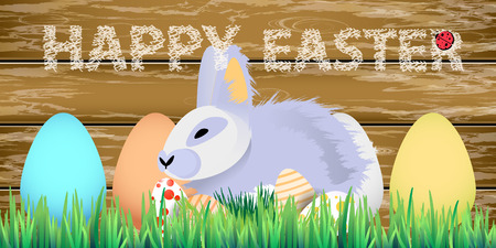 Easter. Easter bunnies in the grass on the wooden fence. with Easter eggs. happy easter. horizontal sheet orientation Illustration