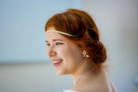 aristocrat. Beautiful redhead girl. portrait in profile