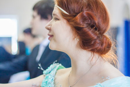aristocrat. Beautiful redhead girl. portrait in profile. historical dance Stock Photo