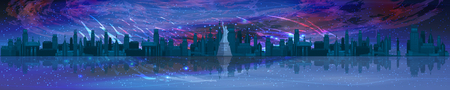cosmos panoramic horizontal orientation. The universe and New York with a statue of freedom