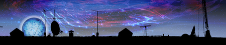 space panorama horizontal orientation. The universe and night stars against the backdrop of the roof. 스톡 콘텐츠