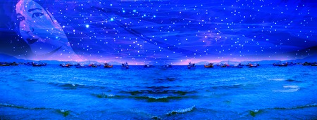 space panorama. starry sky with the silhouette of a beautiful girl. space landscape. cosmo ocean 写真素材