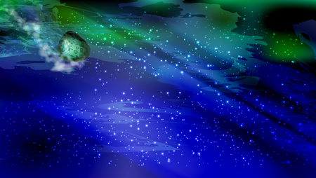 meteorite drop. landscape cosmic starry. The green stone lump falls down leaving traces in the starry sky