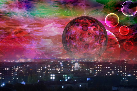Red Moon. the city is asleep. landscape space. heavenly bodies and earth Imagens