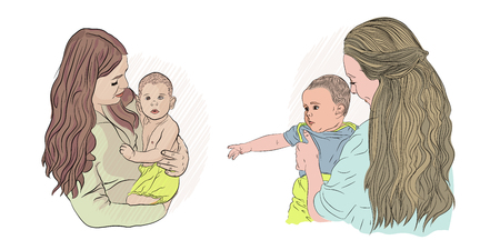 lesbian family. two girls with children. vector illustration. on white isolated background. sketching style