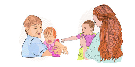 the baby is crying. fear of seeing a doctor. family with children. children are afraid. Vector illustration on white isolated background. sketching style Standard-Bild - 125890370