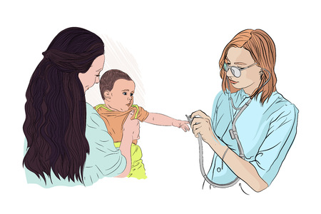 girl in her mothers arms at the reception at the pediatrician. doctor listens to a small child with a stethoscope. vector illustration on white isolated layer in sketching style