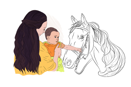 contact zoo. mother and child with a horse. the child pulls his hand to the horse with interest. Vector illustration on white isolated background in sketching style.