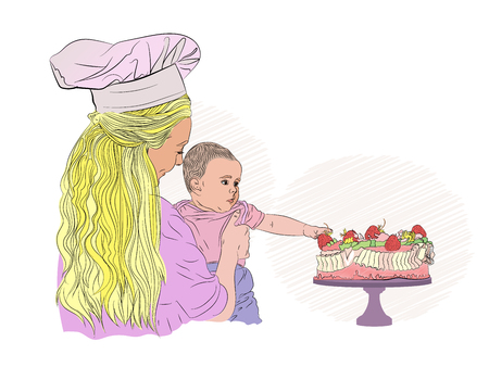 birthday child. kid and strawberry cake. mom and baby. mother cook Vector illustration on white isolated background. style sketching Standard-Bild - 125890374