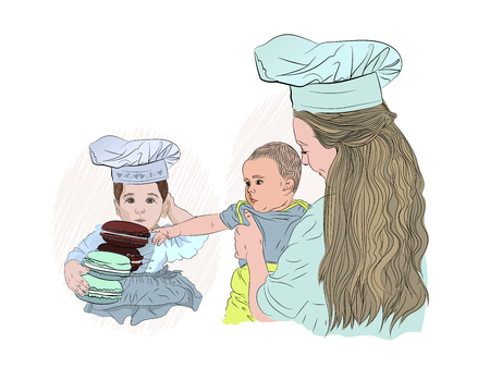 macarons in the hands of the childs cook. the girl is one year old in the cook cap and the mother with the baby. Europeans. beautiful and sweet family of three. sketching style vector illustration on white background isolated. a small child enthusiastically pulls his hand to color cookies. in the middle of the day. family meal