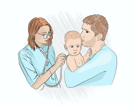 childrens pneumonia the doctor examines the child. Dad holds the baby in his arms at the examination of the pediatrician. stethoscope lungs inspection