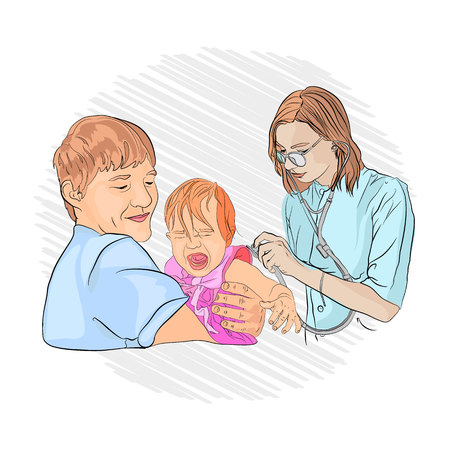 pneumonia in a child. pediatrician examines the baby in the hands of dad. listen to your lungs with a stethoscope. sketching style