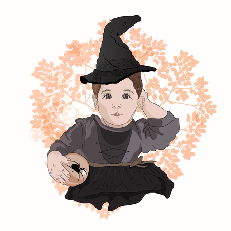 Halloween little witch. Sabrina. baby in witch hat with black spider. drawing tint vector illustration Standard-Bild - 125890381