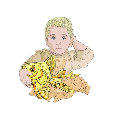 fish fat. girl with a goldfish. children's illustration. concept of wish fulfillment. vector illustration on white isolated layer in sketching style Standard-Bild - 125890382