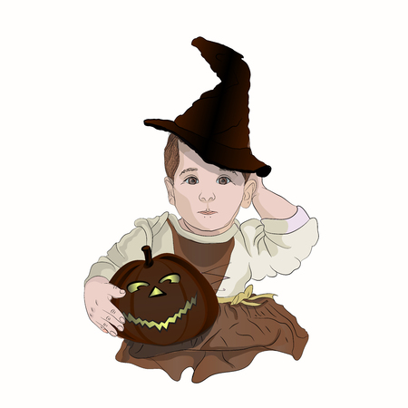 Halloween little witch. Sabrina. baby in a witch hat with a pumpkin. drawing tint vector illustration