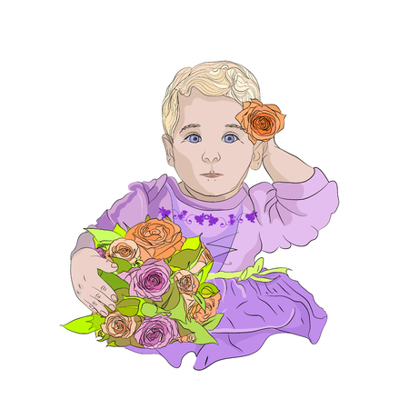 Pretty girl is very small with flowers. cute baby in pink. child carrying wedding flowers. holiday ceremony. Vector illustration on white isolated background. sketching style Standard-Bild - 125890384