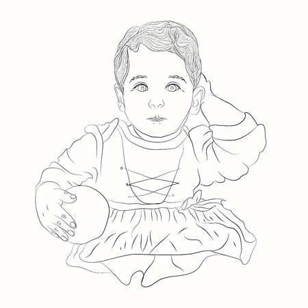 girl with a crystal ball. illustration on a white background. sketching style Çizim
