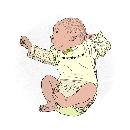 little baby is sleeping. Vector illustration on white isolated background. sketching style