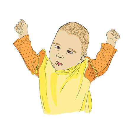 a small child smacks into the blood. hands up. Vector illustration on white isolated background in sketching style.