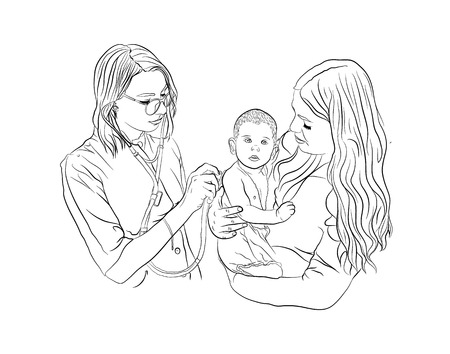 the baby is ill. pediatrician treatment. illustration on a white background. sketching style Çizim