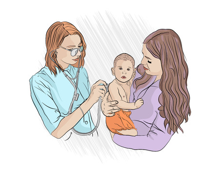 examination by a pediatrician. Doctor visit. A doctor with a stethoscope examines a small child in her mother s arms. medical checkup. Vector illustration on white isolated background. sketching style Vetores