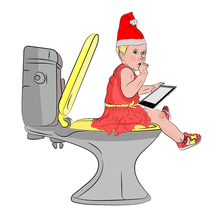 Santa Claus girl on the toilet with a tablet diet for the holidays. binge eating. Vector illustration on white isolated background. sketching style