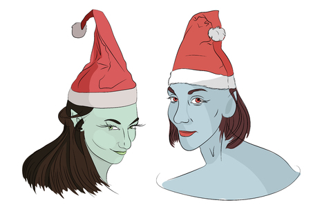 Christmas elves. in New Years caps on his head. evil christmas blue skin. . Vector illustration on white isolated background. sketching style