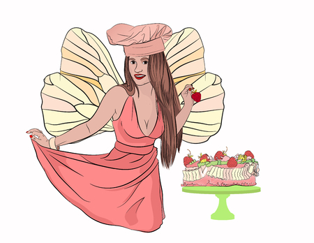 tooth fairy with a strawberry cake. cake and caries. lovely girl with strawberries in hand. . Vector illustration on white isolated background. sketching style Çizim
