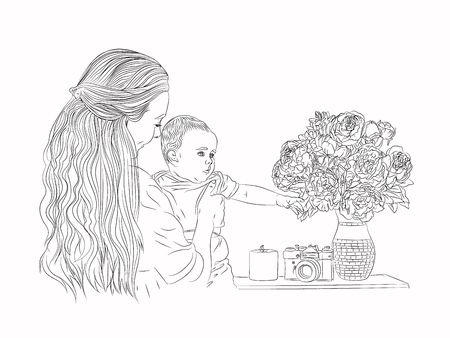 mother and child together happy motherhood and childhood. illustration on a white background. sketching style