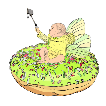 a tooth fairy takes a selfie with a selfie stick on a big donut in colored dressing. A small child in a baby makes a selfie with a selfie stick. funny and cute baby with wings. Vector illustration on white isolated