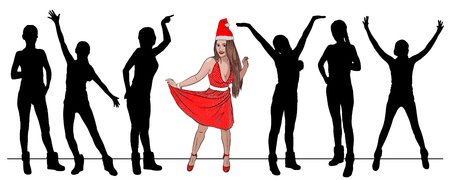 beauty contest santa claus woman sexy in christmas hat and red retro polka dot dress. Vector illustration on white background. style sketching