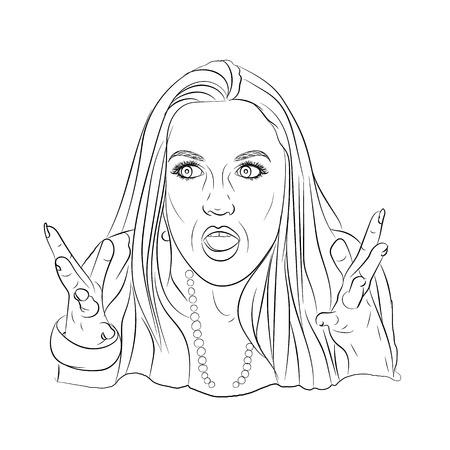 meme emotion girl. surprise and misunderstanding. illustration sketching vector on a white background Vettoriali