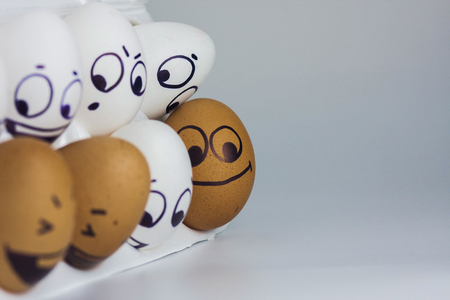 eggs with a face. funny and funny painted faces. photo for your design